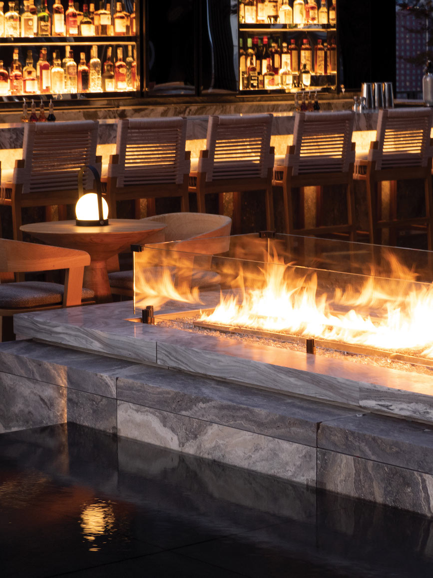 <bar and fireplace
